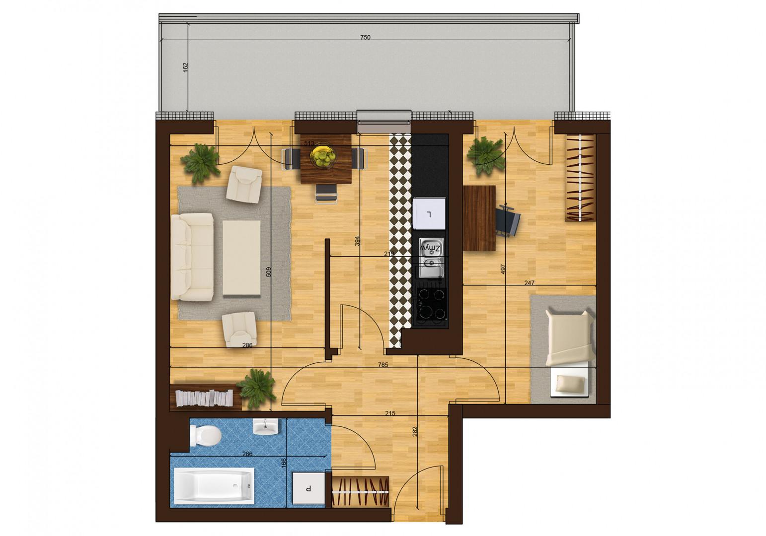 Mieszkanie dwupokojowe 33F/4 rzut 1