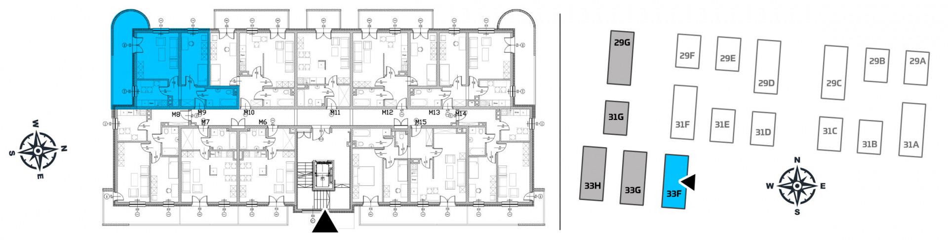 Mieszkanie dwupokojowe 33F/9 rzut 2
