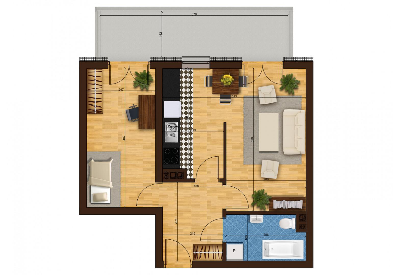 Mieszkanie dwupokojowe 33F/10 rzut 1
