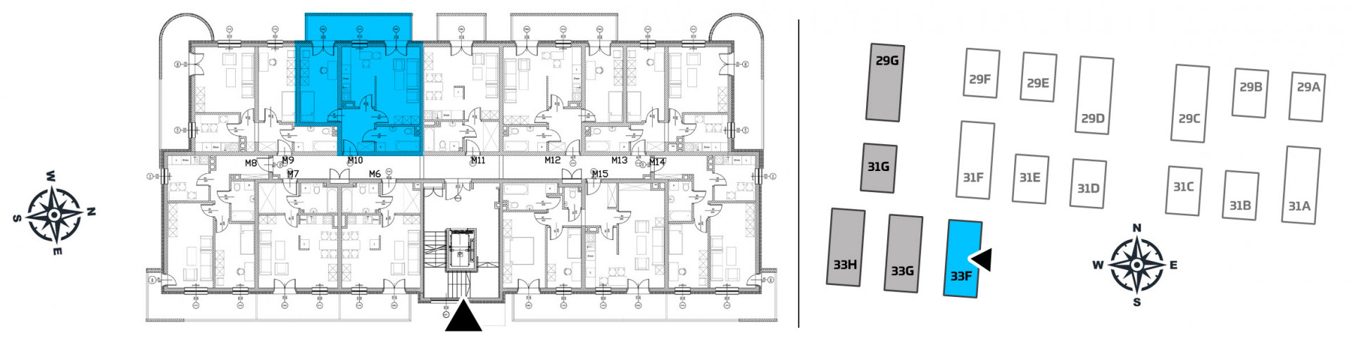 Mieszkanie dwupokojowe 33F/10 rzut 2