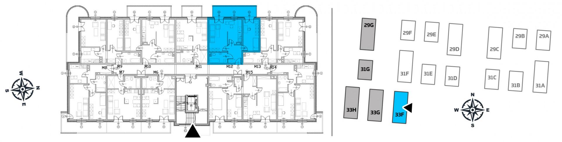Mieszkanie dwupokojowe 33F/12 rzut 2
