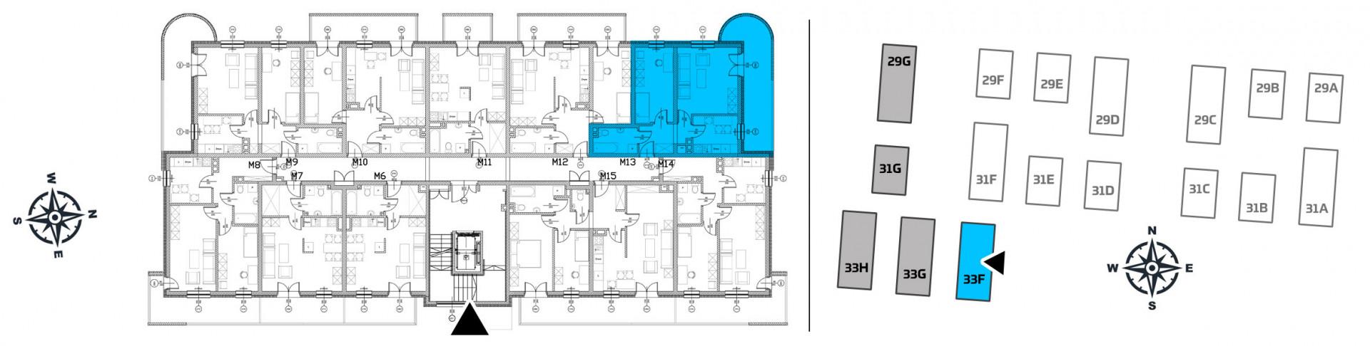 Mieszkanie dwupokojowe 33F/13 rzut 2