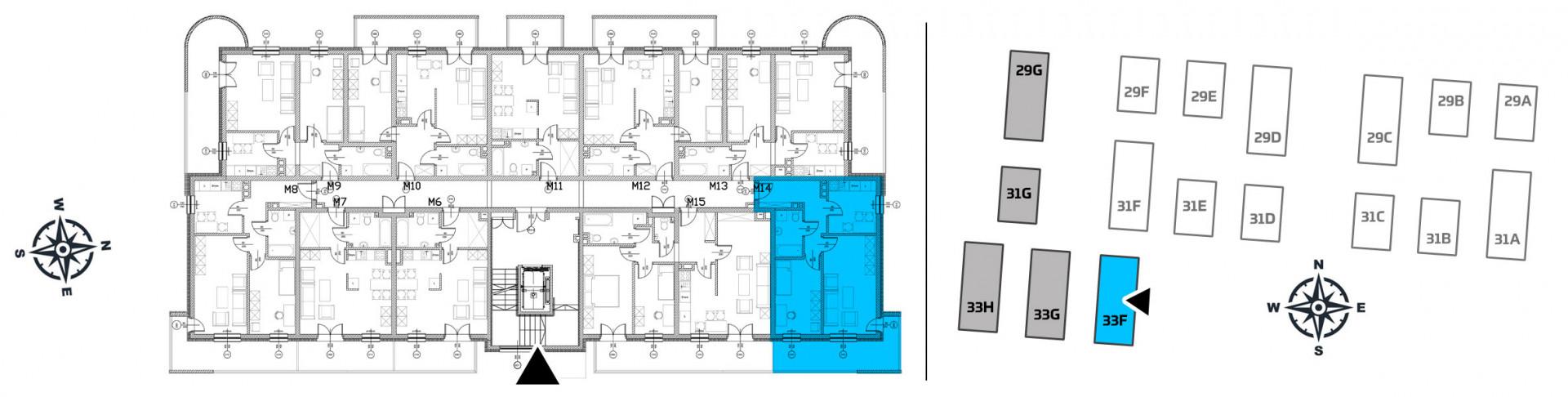 Mieszkanie dwupokojowe 33F/14 rzut 2