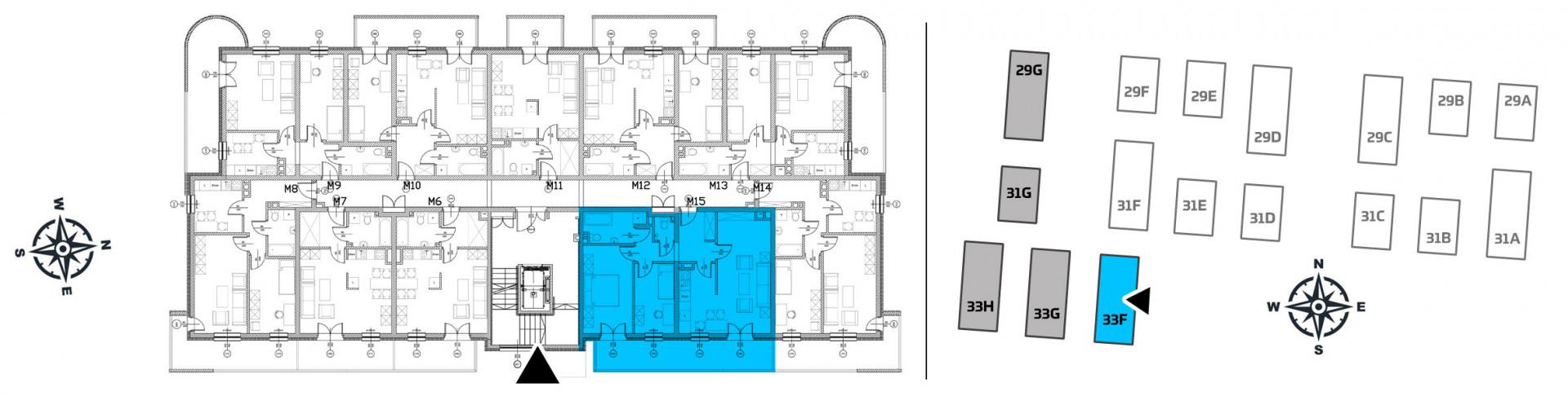 Mieszkanie trzypokojowe 33F/15 rzut 2
