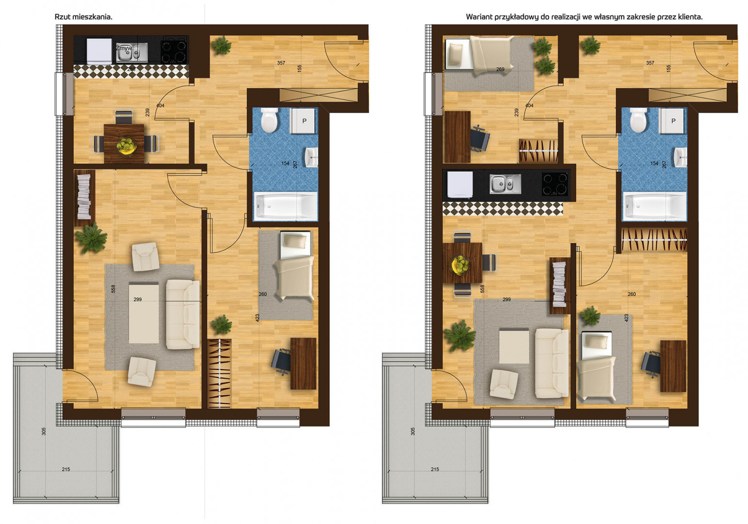 Mieszkanie dwupokojowe 33F/18 rzut 1