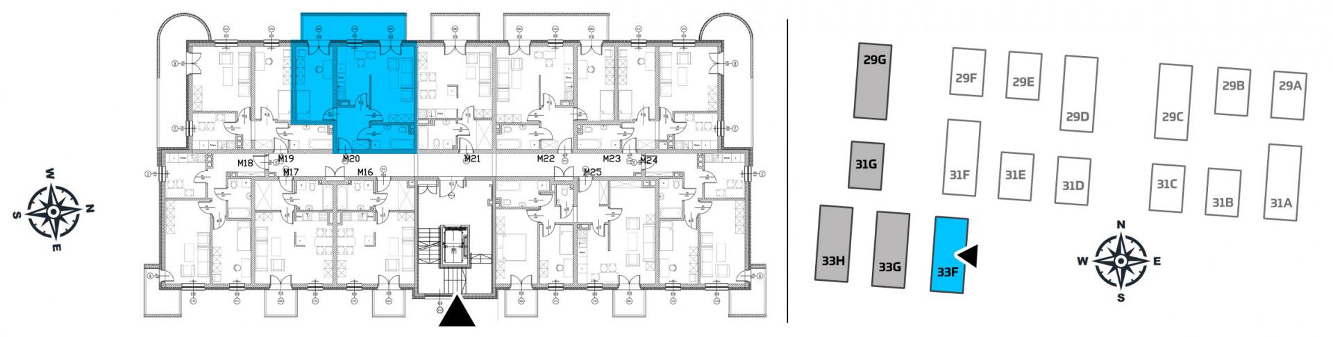 Mieszkanie dwupokojowe 33F/20 rzut 2