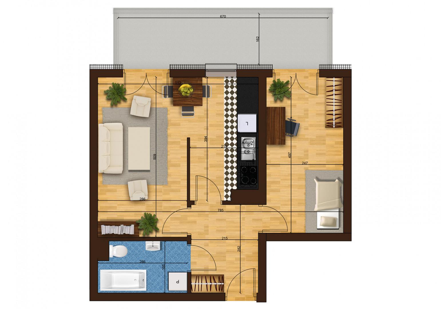 Mieszkanie dwupokojowe 33F/22 rzut 1