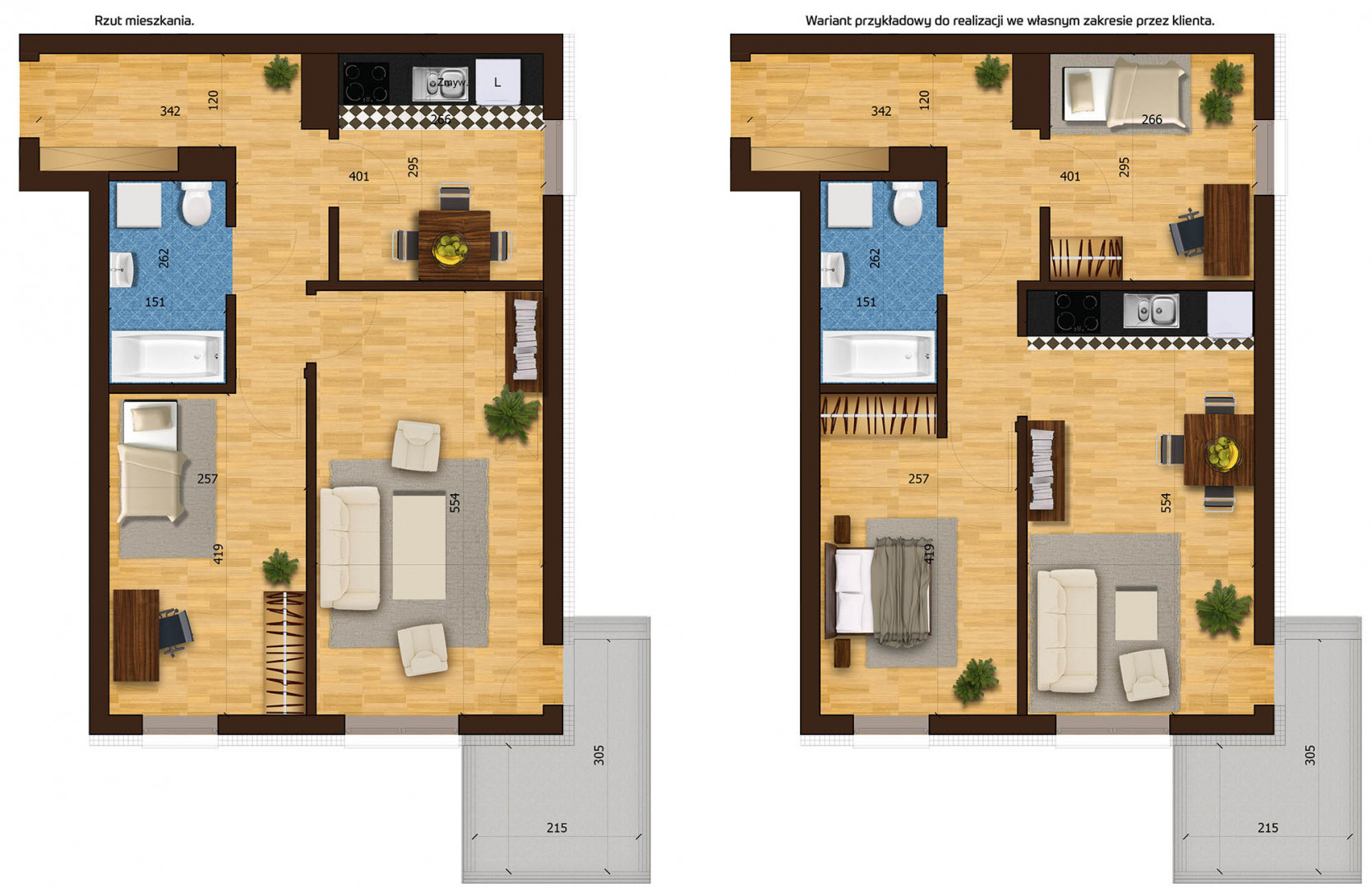 Mieszkanie dwupokojowe 33F/24 rzut 1
