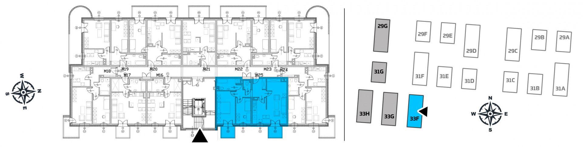 Mieszkanie trzypokojowe 33F/25 rzut 2