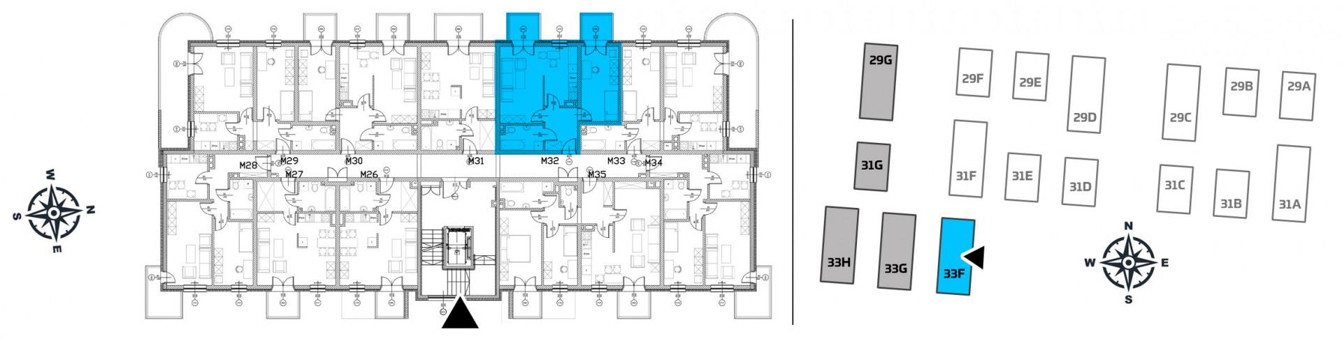 Mieszkanie dwupokojowe 33F/32 rzut 2