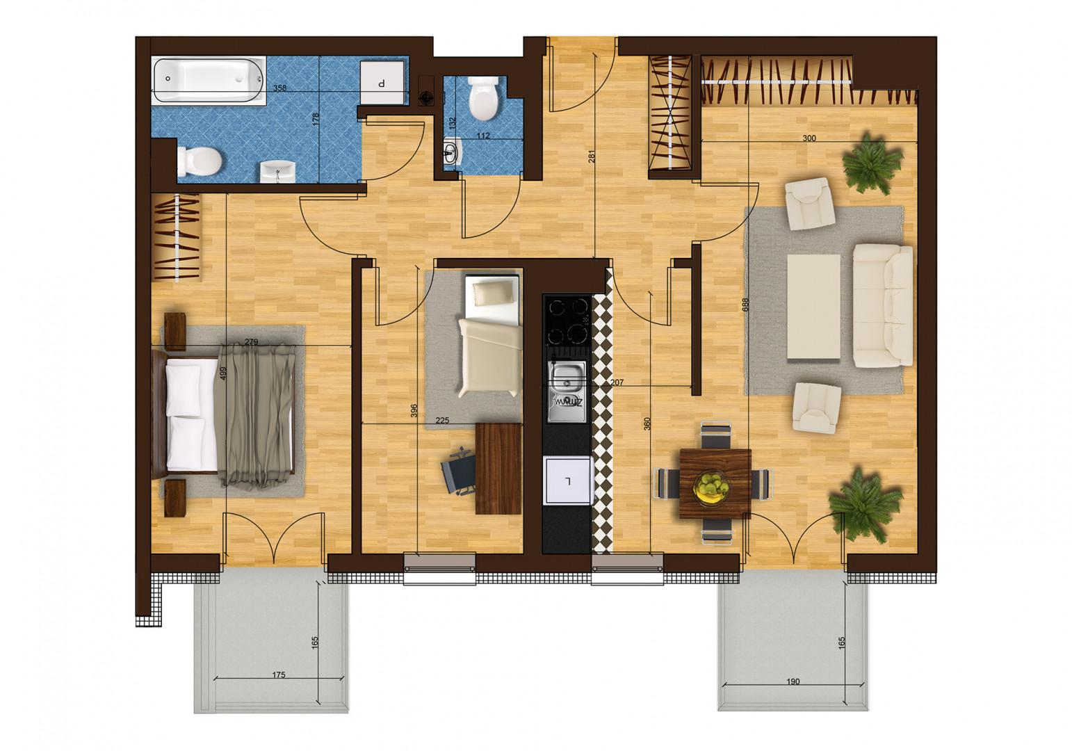 Mieszkanie trzypokojowe 33F/35 rzut 1