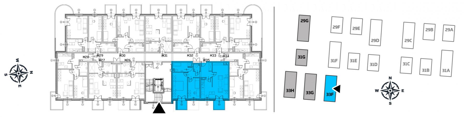 Mieszkanie trzypokojowe 33F/35 rzut 2