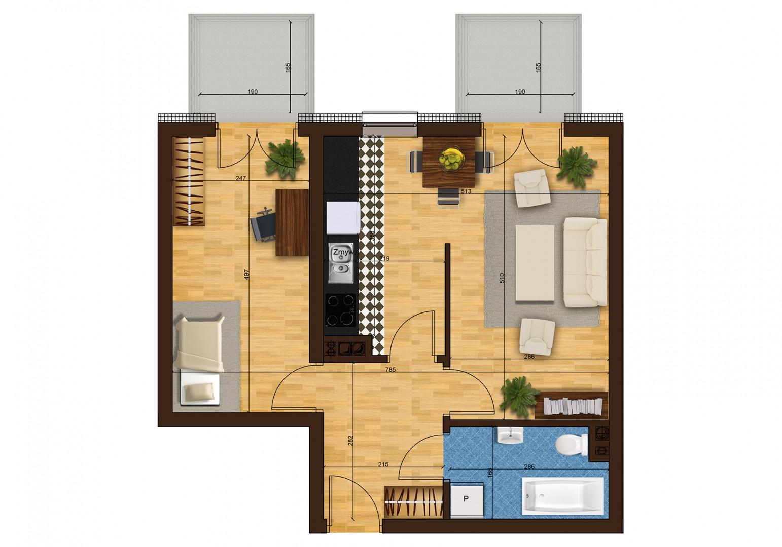 Mieszkanie dwupokojowe 33F/40 rzut 1
