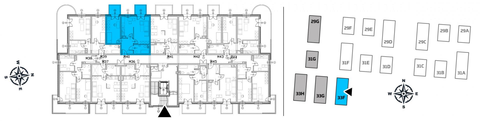 Mieszkanie dwupokojowe 33F/40 rzut 2