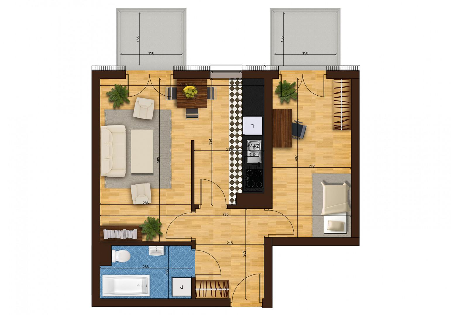 Mieszkanie dwupokojowe 33F/42 rzut 1