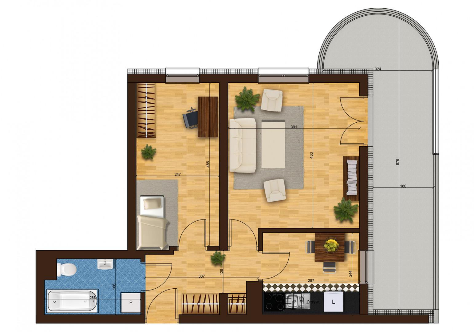 Mieszkanie dwupokojowe 33F/43 rzut 1