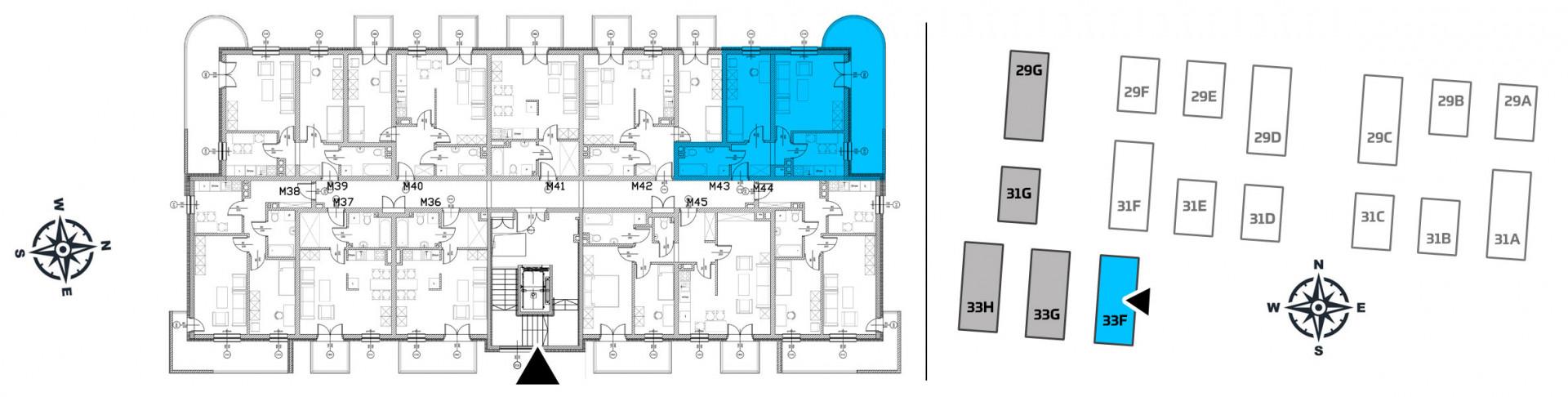Mieszkanie dwupokojowe 33F/43 rzut 2