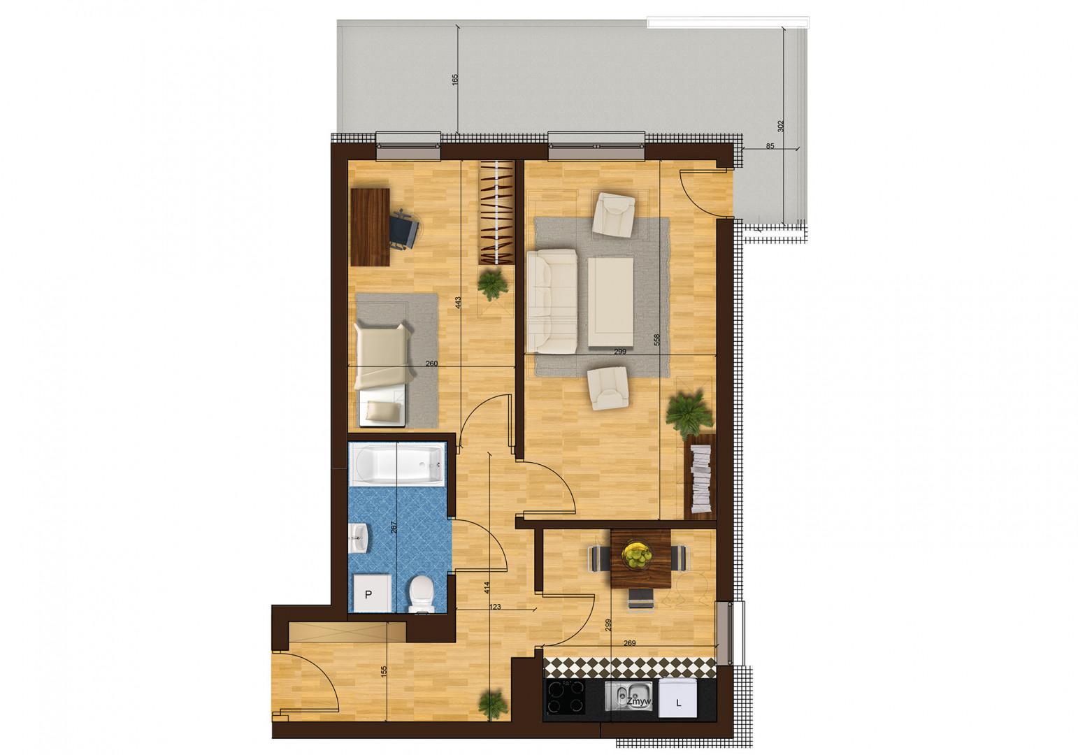 Mieszkanie dwupokojowe 33G/7 rzut 1
