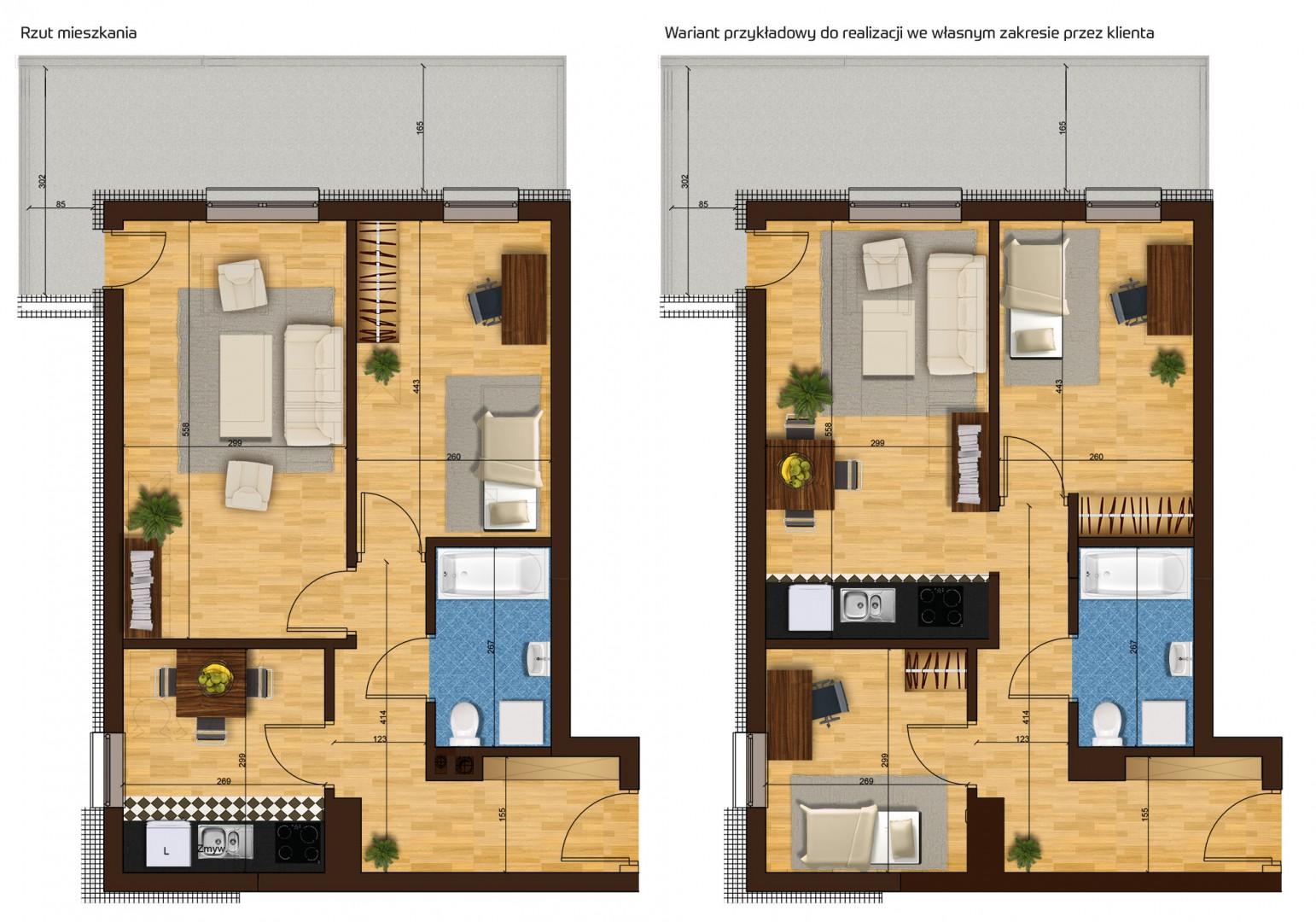 Mieszkanie dwupokojowe 33G/13 rzut 1