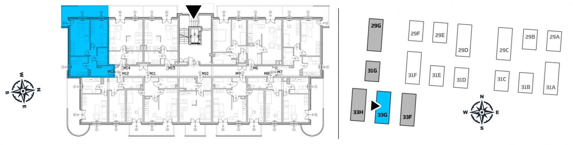 Mieszkanie dwupokojowe 33G/13 rzut 2