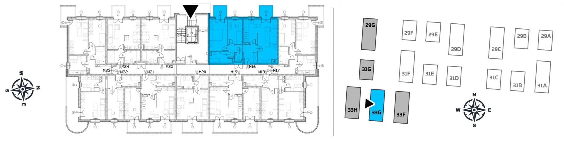 Mieszkanie trzypokojowe 33G/16 rzut 2