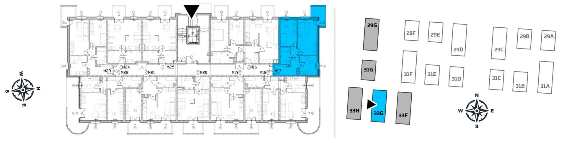 Mieszkanie dwupokojowe 33G/17 rzut 2