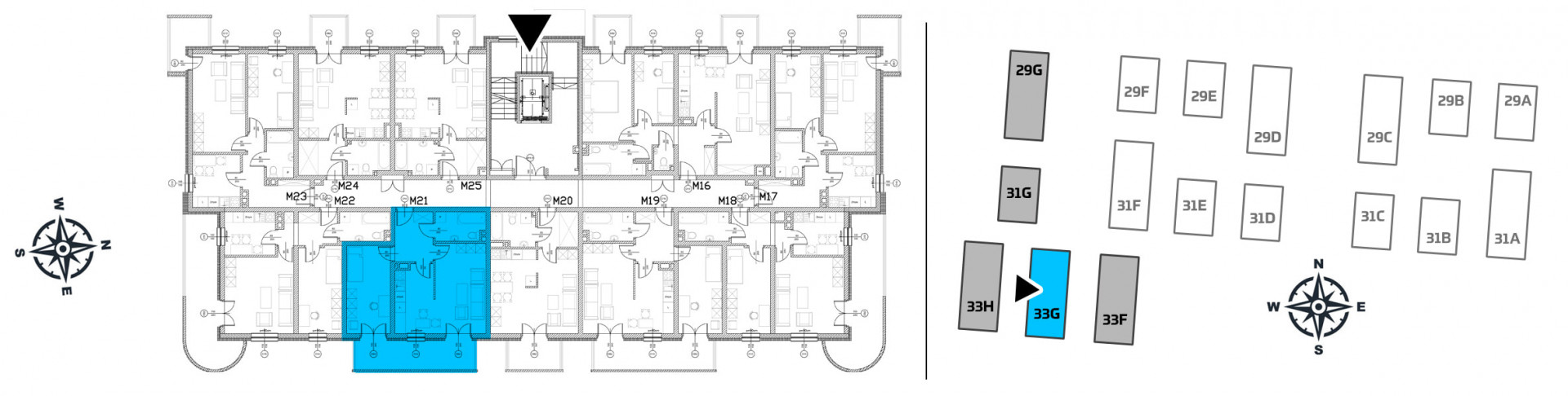 Mieszkanie dwupokojowe 33G/21 rzut 2