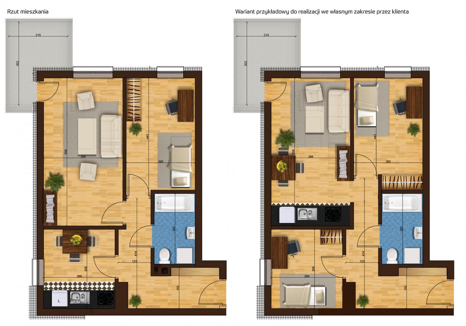 Mieszkanie dwupokojowe 33G/23 rzut 1