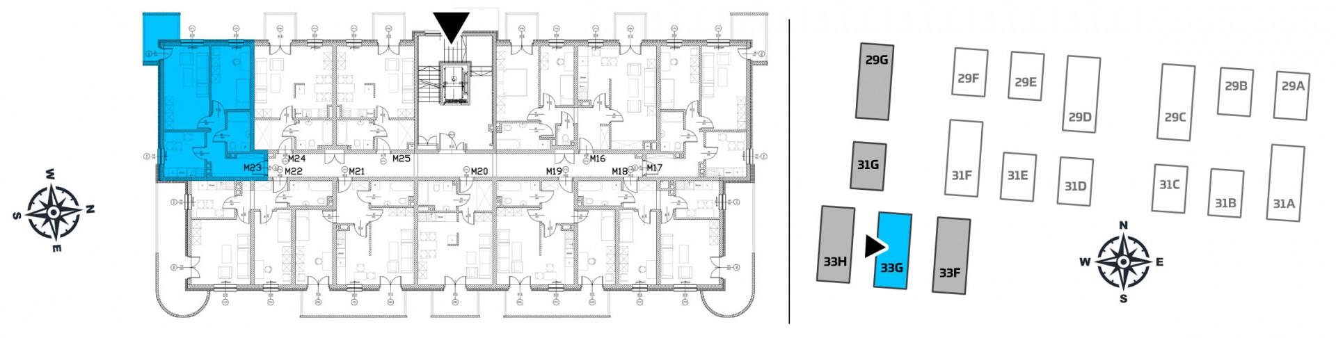 Mieszkanie dwupokojowe 33G/23 rzut 2