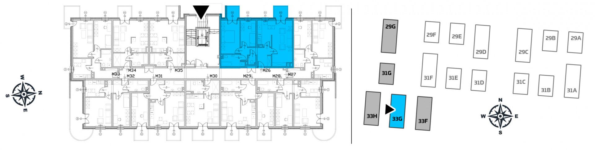Mieszkanie trzypokojowe 33G/26 rzut 2
