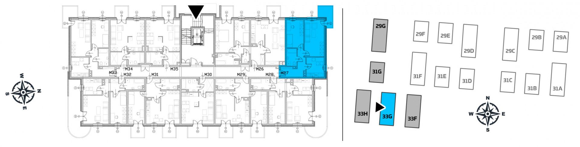 Mieszkanie dwupokojowe 33G/27 rzut 2