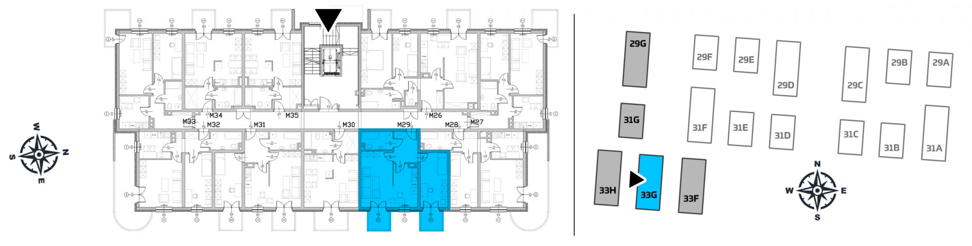 Mieszkanie dwupokojowe 33G/29 rzut 2