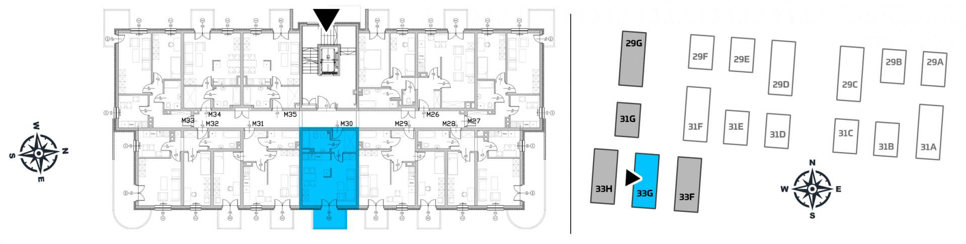 Mieszkanie jednopokojowe 33G/30 rzut 2