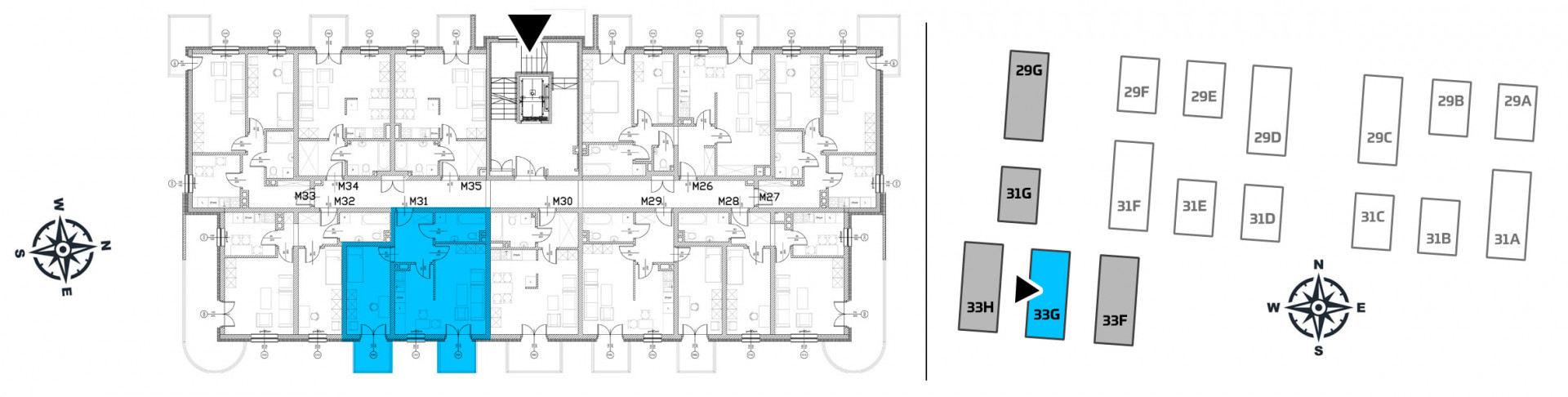 Mieszkanie dwupokojowe 33G/31 rzut 2