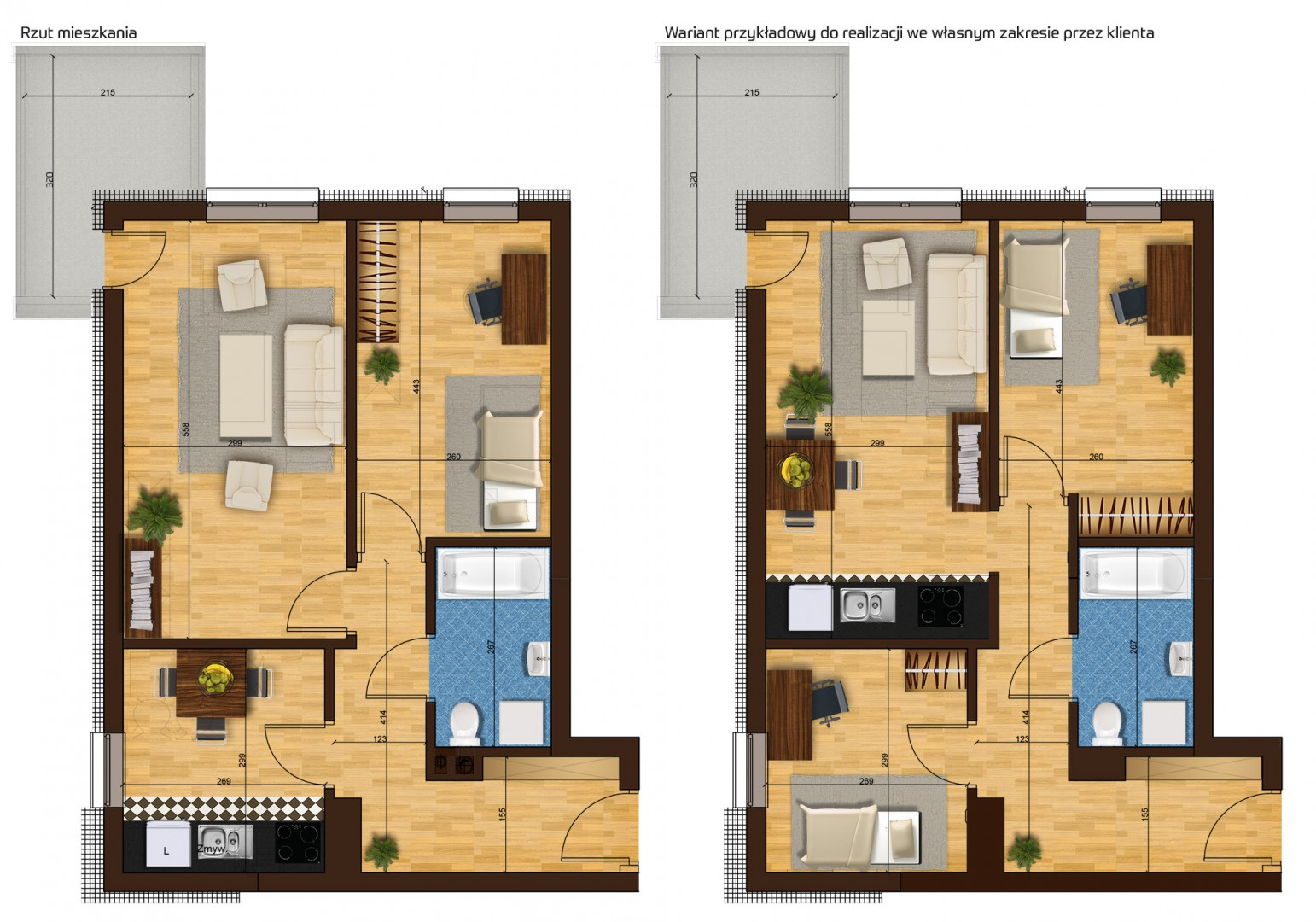 Mieszkanie dwupokojowe 33G/33 rzut 1