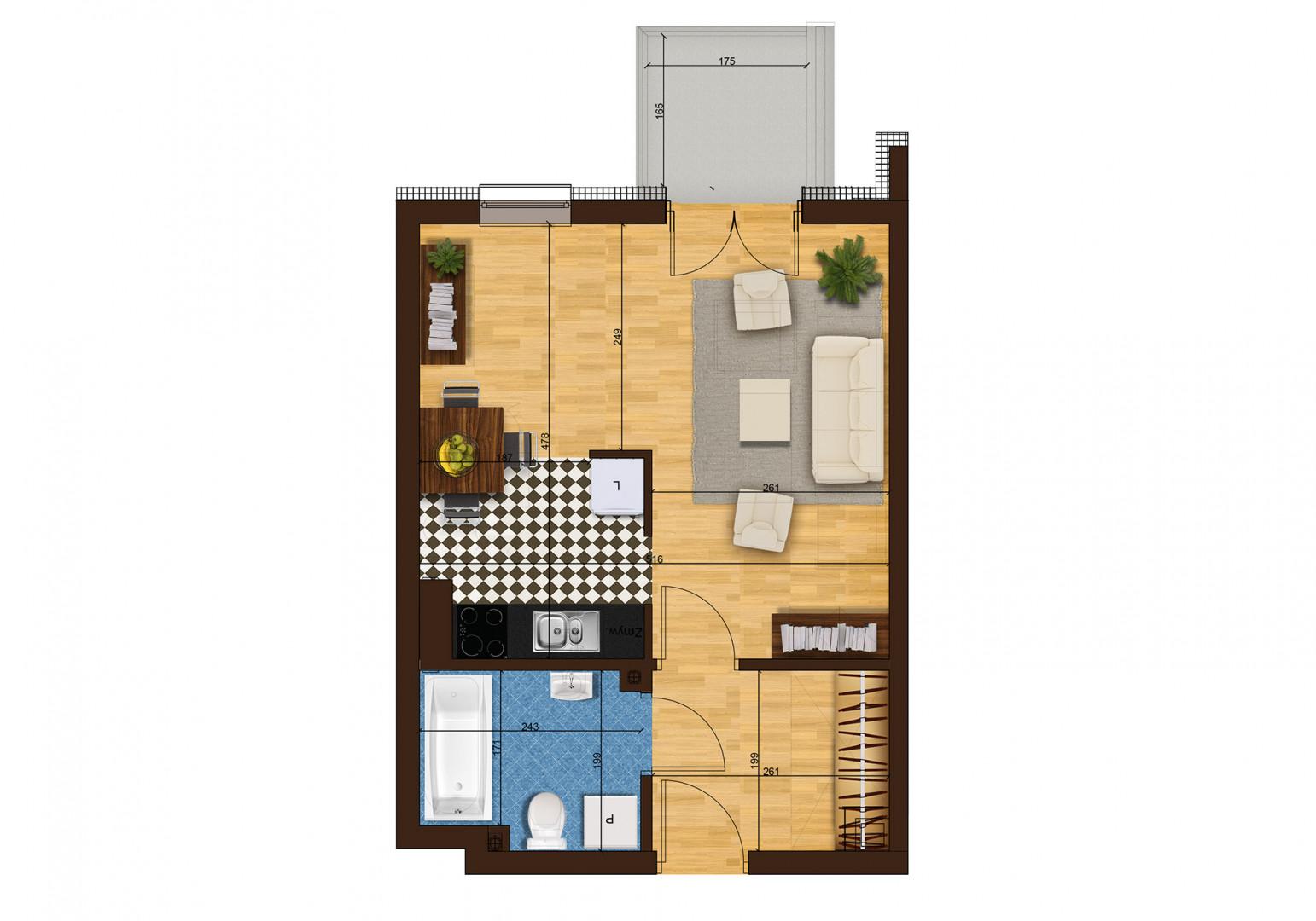 Mieszkanie jednopokojowe 33G/35 rzut 1