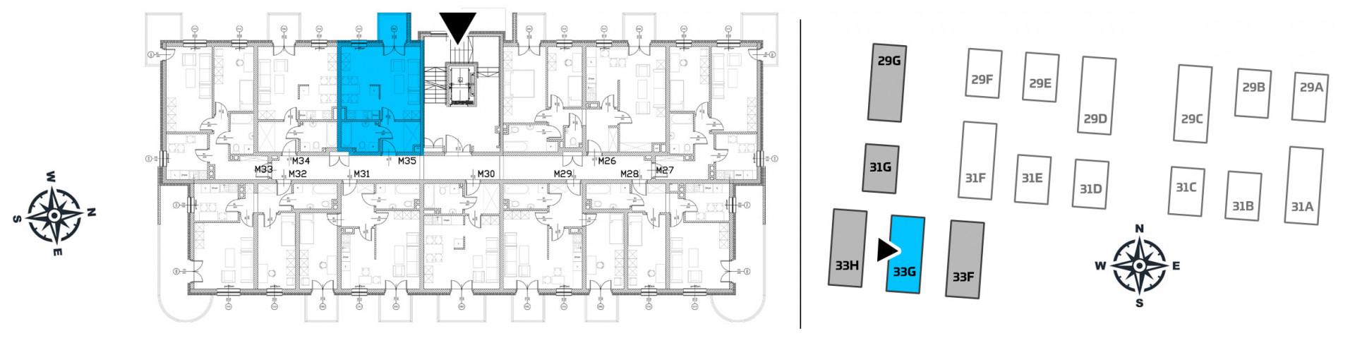 Mieszkanie jednopokojowe 33G/35 rzut 2