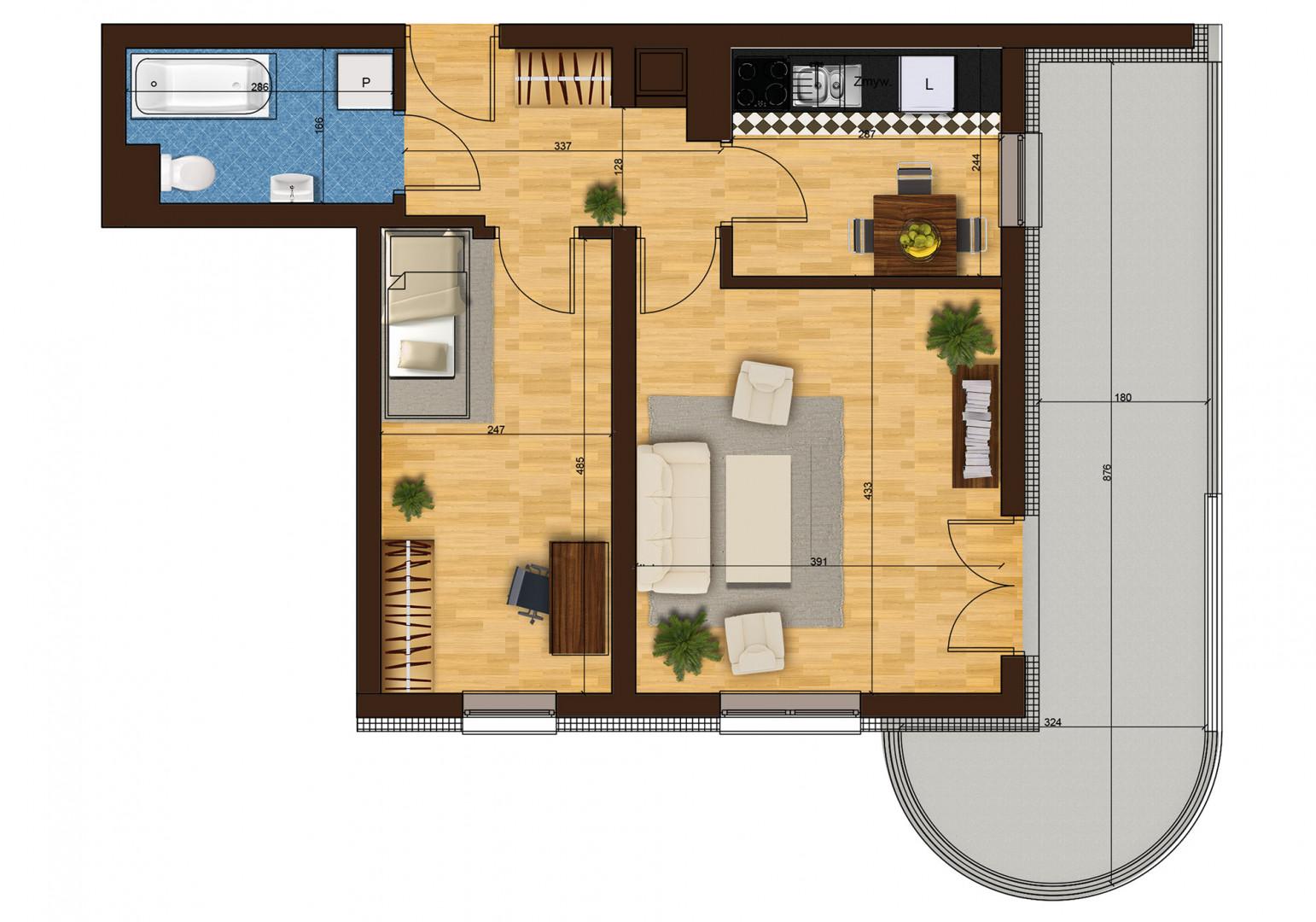 Mieszkanie dwupokojowe 33G/38 rzut 1