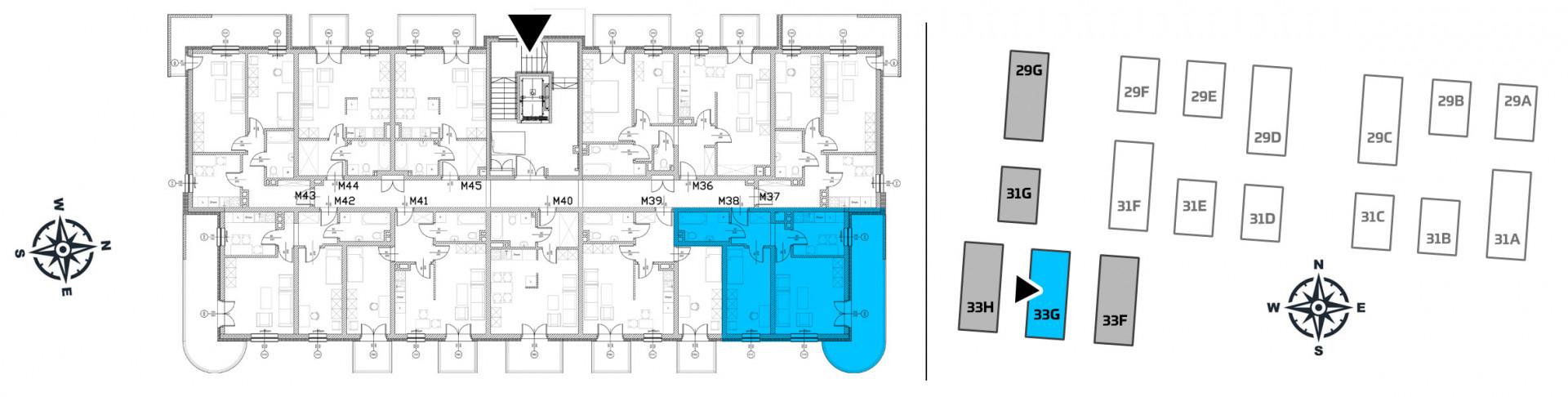 Mieszkanie dwupokojowe 33G/38 rzut 2