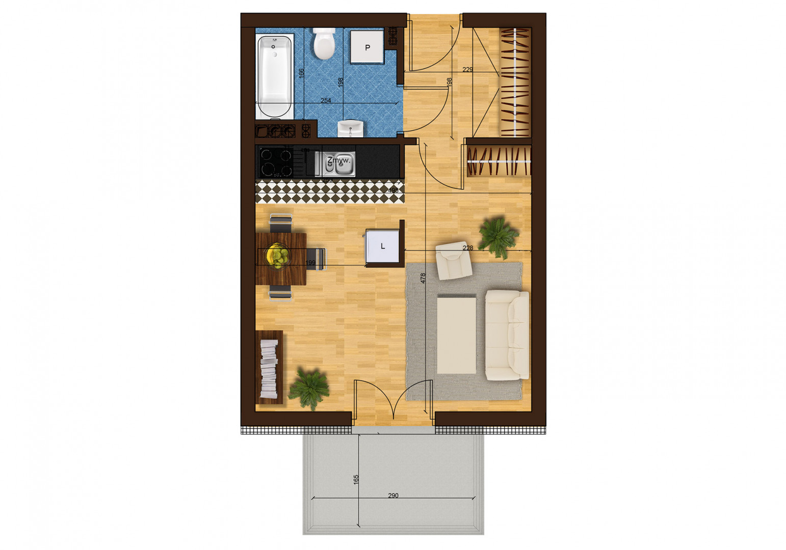 Mieszkanie jednopokojowe 33G/40 rzut 1