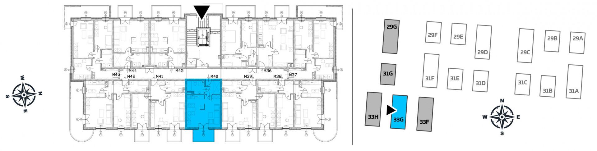 Mieszkanie jednopokojowe 33G/40 rzut 2