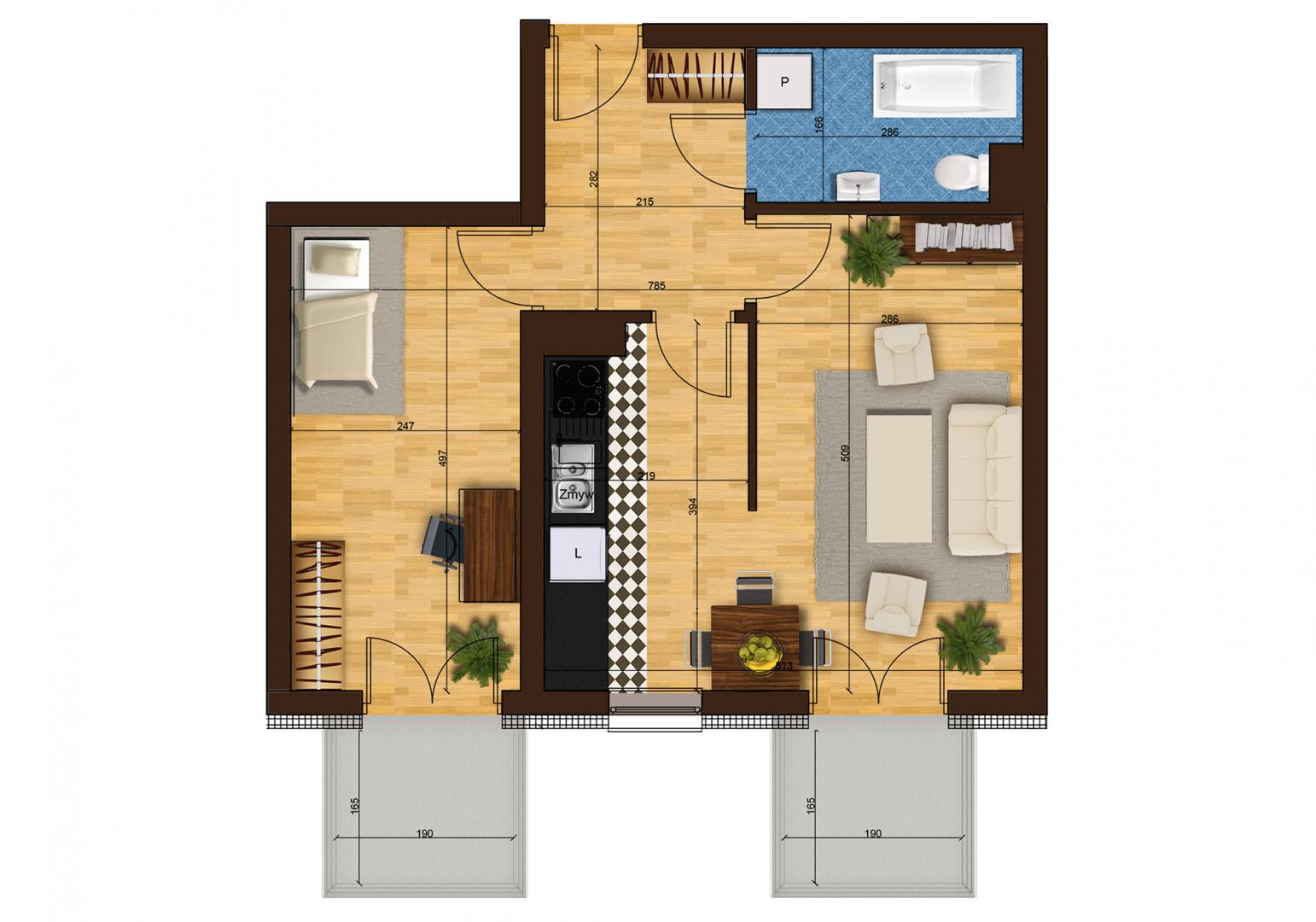 Mieszkanie dwupokojowe 33G/41 rzut 1