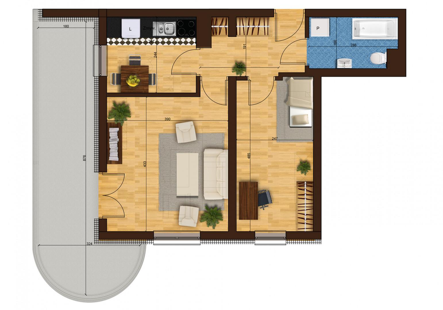 Mieszkanie dwupokojowe 33G/42 rzut 1