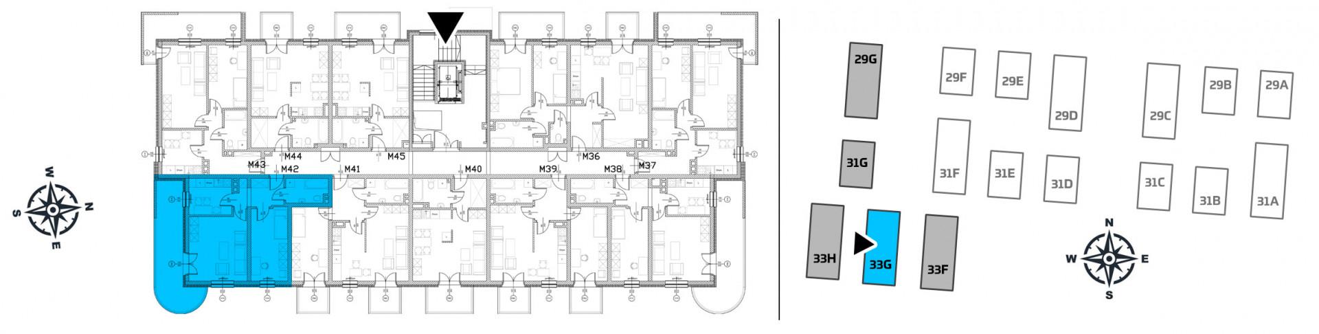 Mieszkanie dwupokojowe 33G/42 rzut 2
