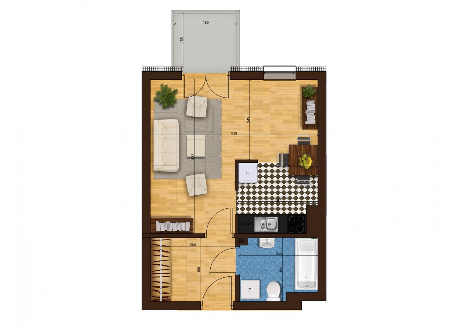 Mieszkanie jednopokojowe 33G/44 rzut 1