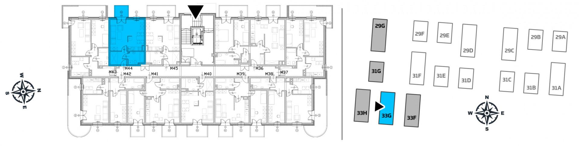 Mieszkanie jednopokojowe 33G/44 rzut 2