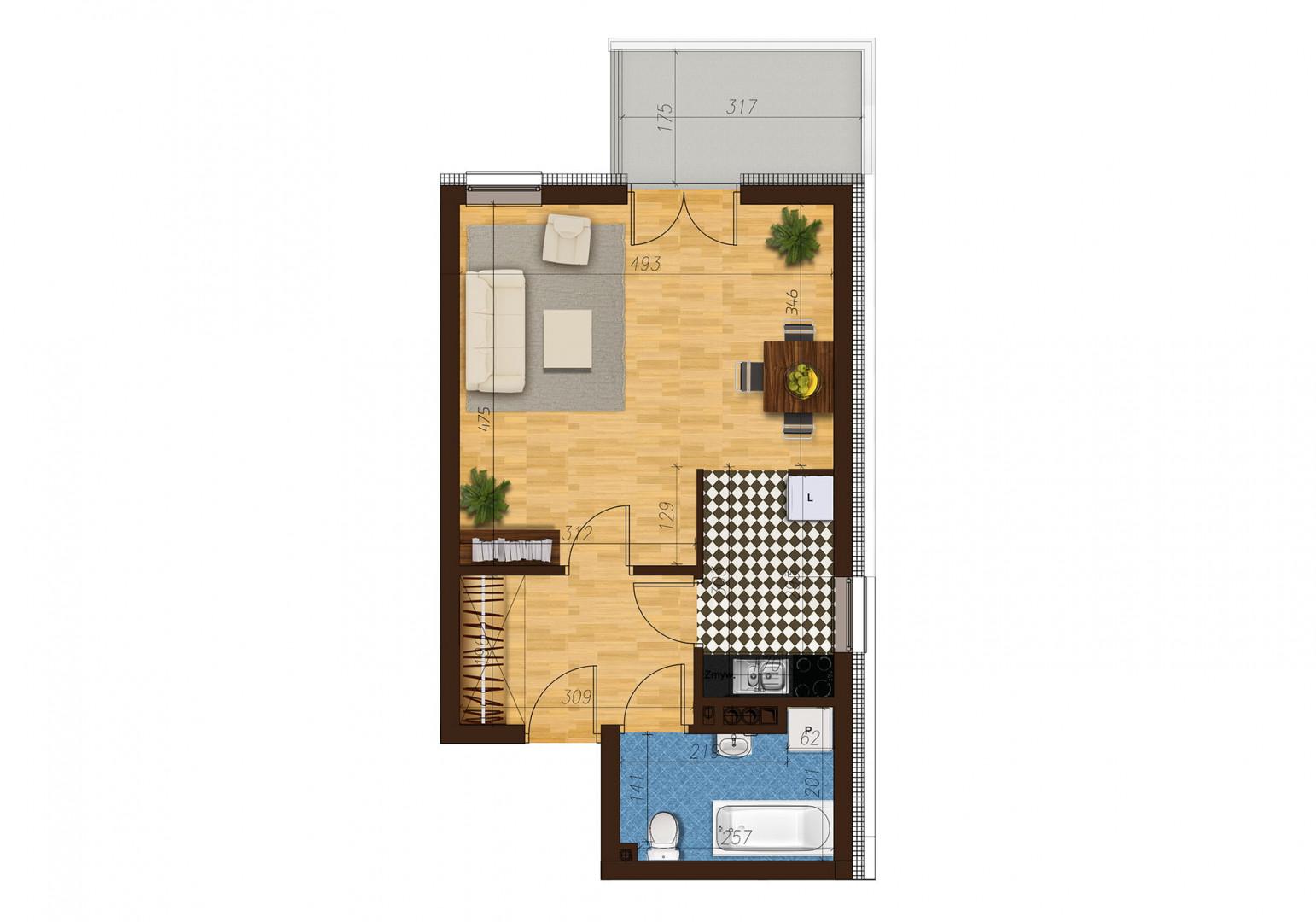 Mieszkanie jednopokojowe 33B/27 rzut 1