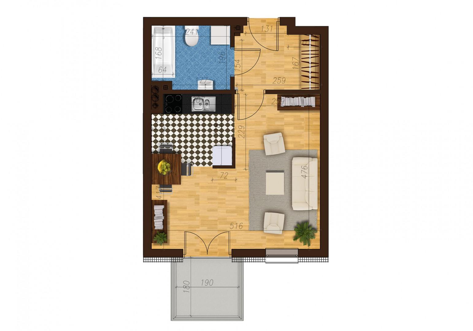 Mieszkanie jednopokojowe 33C/2 rzut 1