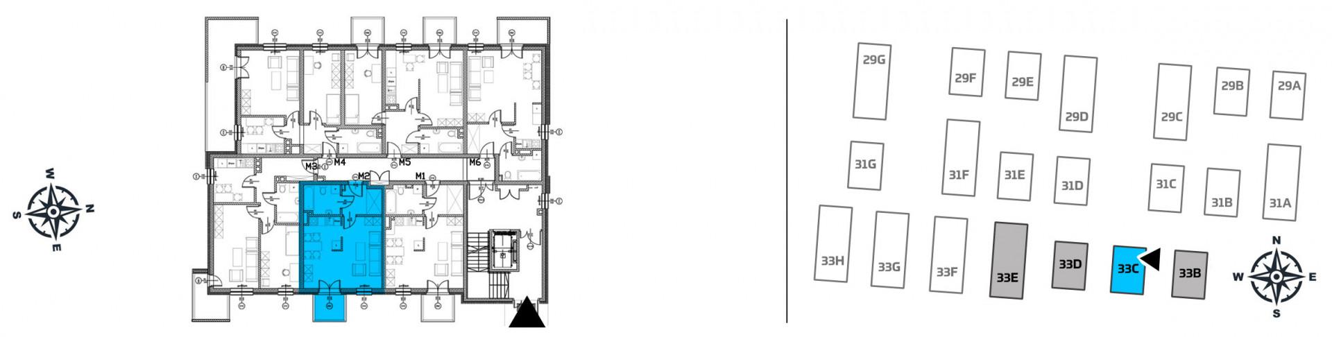 Mieszkanie jednopokojowe 33C/2 rzut 2