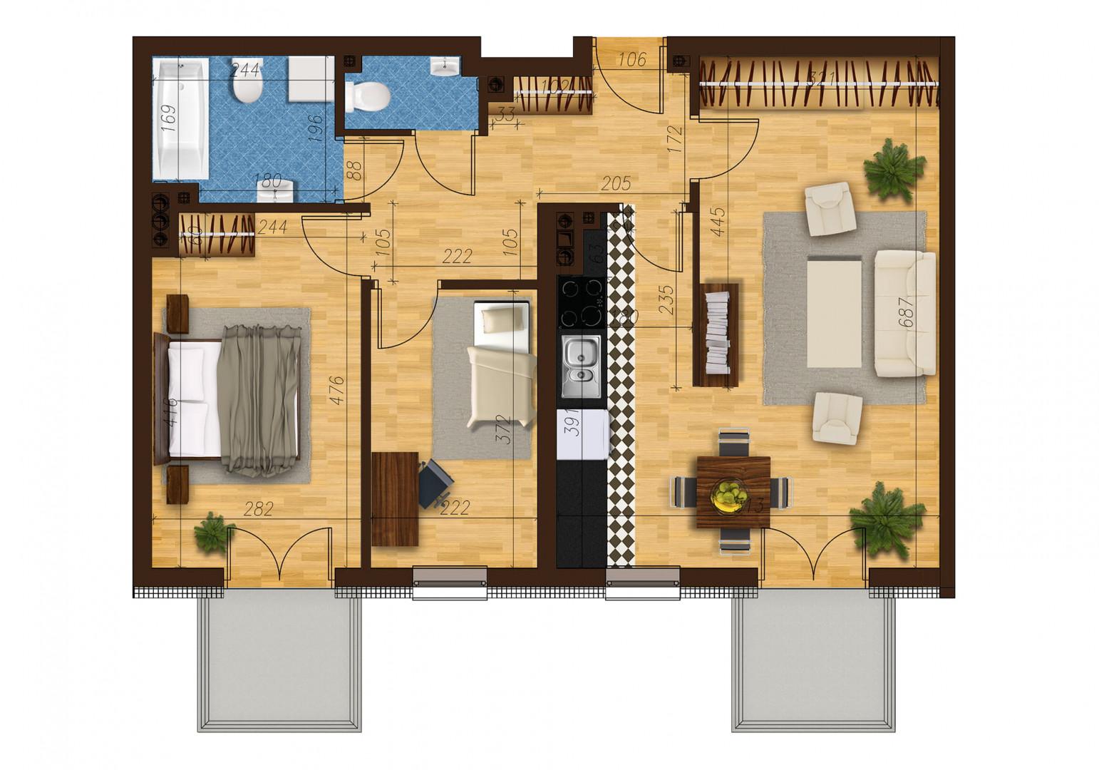 Mieszkanie trzypokojowe 33C/18 rzut 1